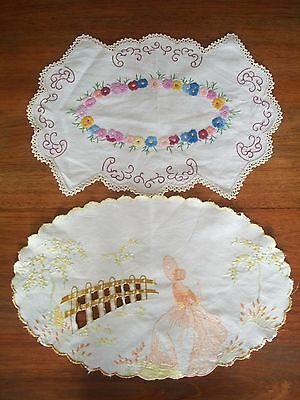 2 Vintage Embroidered Doilies 1 Crinoline Lady