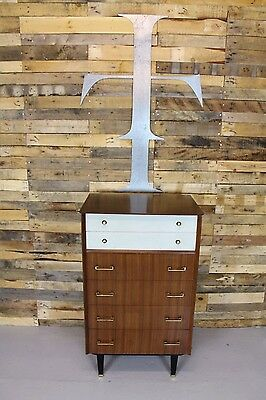 Vintage Retro Mid Century 1950's Walnut Tall Boy / Chest Of Drawers
