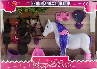 My Purple Poppy Pony Toy - Groom And Saddle Play Set
