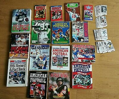 NFL great collection fact books and records books, also over 100 Gameday cards
