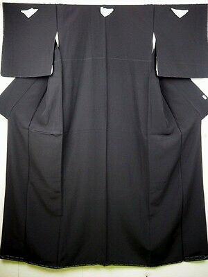 UNUSED Plain Black Japanese Habutae Silk Montsuki Kimono/Robe/Coat 12-16 Tall