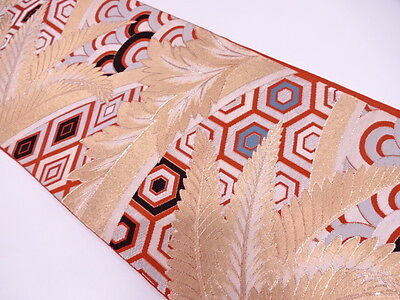 Vintage Japanese Orange/Gold/Black Silk Fukuro-Obi 'Golden Leaf/Kikko' Runner?
