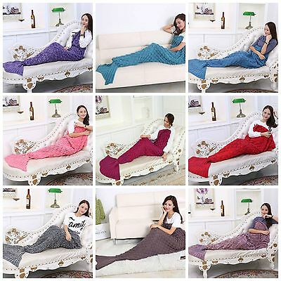 Kids Yarn Knitted Mermaid Scale Tail Snuggle Sleepover Blanket Premium Crochet