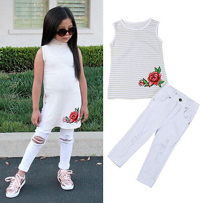 2PCS Child Toddler Kids Baby Girl Rose T-Shirt Tops+Jeans Pants Outfit Clothes