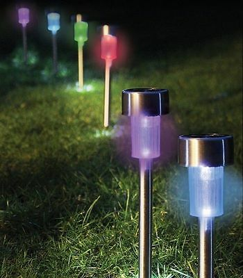 NEW x 10 STAINLESS STEEL SOLAR POWERED COLOUR CHANGING LED GARDEN LIGHTS