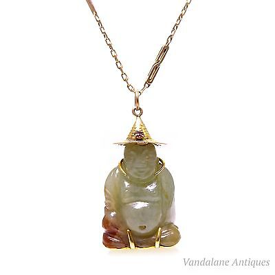 Vintage solid 14k yellow gold genuine jade & ruby  Buddha pendant Asian luck