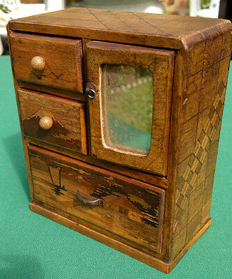 Vintage Japanese Marquetry Miniature Cabinet Box with Mirror Trinket Box