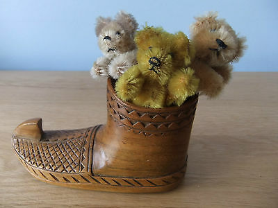 Trio Of Adorable Vintage Miniature Schuco Bears With Antique Wooden Shoe 'house'