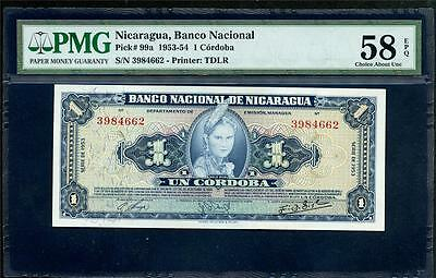"1953-54 Nicaragua 1 Cordoba From ""banco Nacional"" Beautiful Note Please Lqqk!!!"