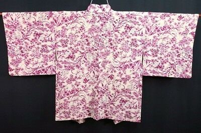 Vintage Japanese Ladies' Beige Crepe 'Purple Floral' Kimono Summer Jacket XS/S