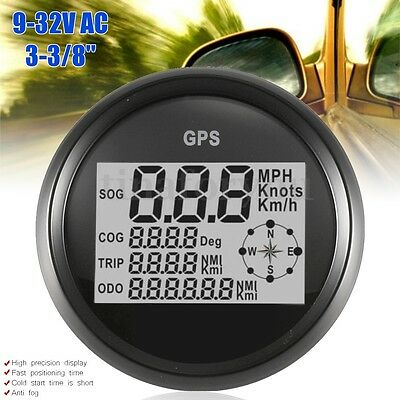 85mm 9-32VDC Black White GPS Speedometer Gauge Digital for Boat Car Motorcycle