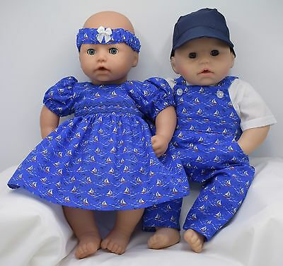 DOLLS MATCHING CLOTHES SET FOR BOY & GIRL. 18in/46cm Annabell&George