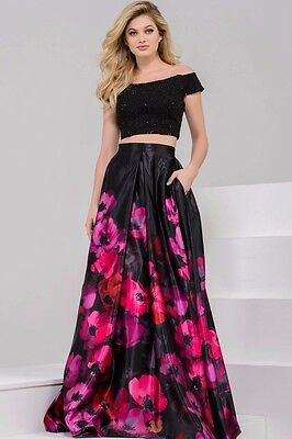 Indian Designer Bollywood Party Wear Black & Pink Flowers Printed Lehenga Choli