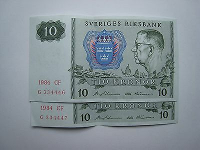 Sweden 10 Kronor Banknotes Consecutively Numbered