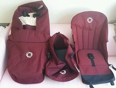 Maroon bugaboo frog Base fabric carrycot, basket, seat and apron
