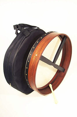 "18 inch Rosewood Bodhran drum with Brass inlays, 3.5"" depth, free bag and tipper"