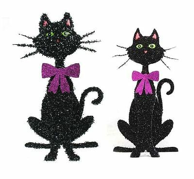 Gisela Graham Glitter Tinsel Sitting Cat Halloween Home Decoration Prop Ornament