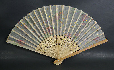 FINE ANTIQUE CHINESE CARVED BAMBOO HANDPAINTED SCENE Hand-FAN Flowers and Stars