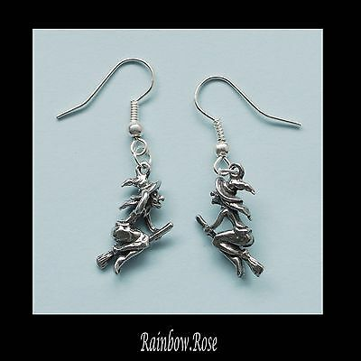 Earrings #236 Pewter Witch on Broom 3D (20mm x 12mm)
