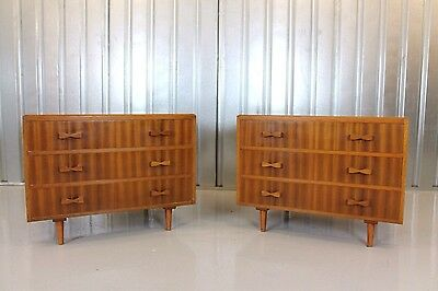 Vintage Retro Mid Century Pair Of Matching 1950's Walnut Chest Of Drawers