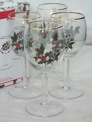 SET OF 4 Portmeirion The Holly & Ivy WINE GLASSES Gold Rim New & Boxed