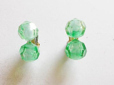Vintage 1940's Green Faceted Lucite Popper Bead Interchangeable Earrings