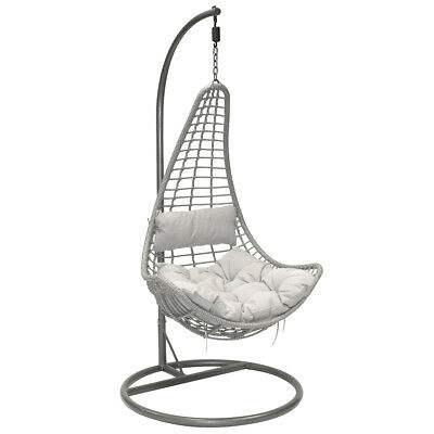 Charles Bentley Patio Outdoor Grey Rattan Hanging Swing Chair With Grey Cushion