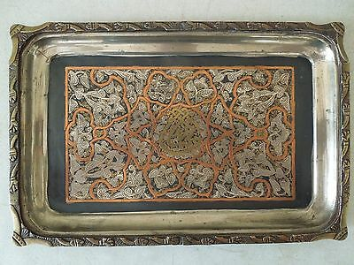 Vintage Ornate Mamluk Cairoware Rectangular Tray w/ Silver, Copper & Brass Inlay