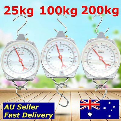 25kg/440lbs 100kg/220lbs 200kg/440lbs Hanging Scales Hook Weighing Fishing Heavy