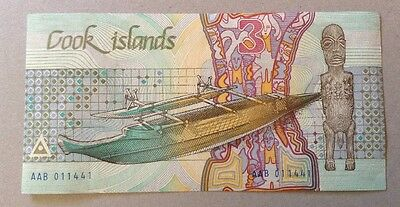 Cook Island Banknote. Three Dollars. Uncirculated. Shark Image.