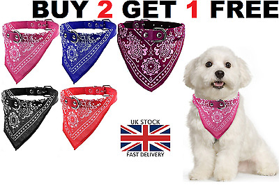 Dog Neck Scarf Bandana With Collar - Adjustable Cat Pet Puppy Neckerchief - Uk