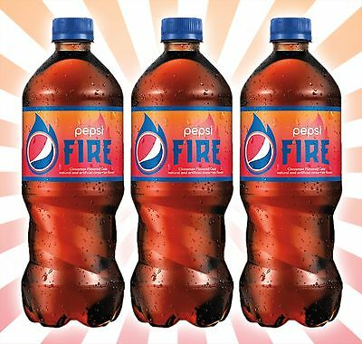 x3 Pepsi Fire Cinnamon Flavored Cola American Soda LIMITED EDITION Bottles 20 OZ