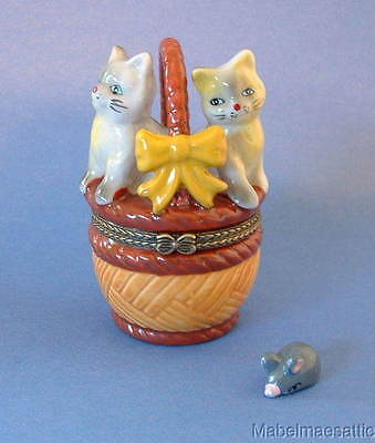 New Handpainted Two Cats Kittens in Basket Cat Porcelain Hinged Trinket Box