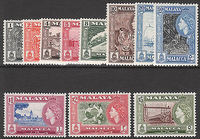 MALAYA MALACCA 1957 MNH/MUH MINT QE11 STAMP SET 10c & 20c very light tinted gum