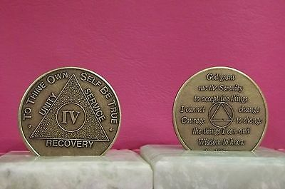 Recovery coins AA 4 Year Bronze Medallion tokens sobriety affirmation birthday