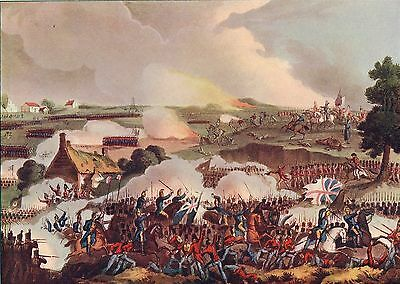 The Centre Of The British Army In Action At Waterloo 1909 Antique Military Print