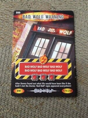 Dr Who Battles in Time Trading Card No. 999 - Bad Wolf Warning