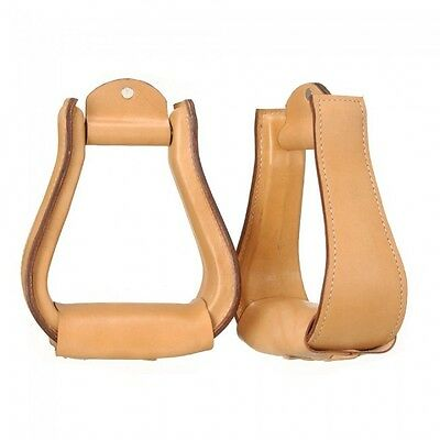 "Tough-1 Leather Covered Stirrups 2"" tread - Light Oil"