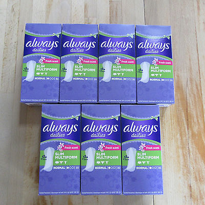 7 X Always Dailies - 30 Normal Slimform Pantyliners - Fits All Lingerie Styles -