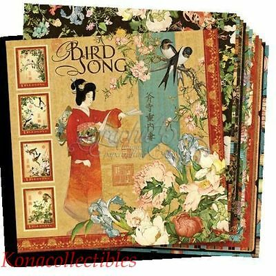 Graphic 45 BIRD SONG 12 x 12 Cardstock Paper 12 Pages 24 Different Designs!