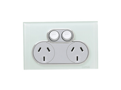 Clipsal Saturn Offer Double  Power Point  4025 PW  (Pure White)