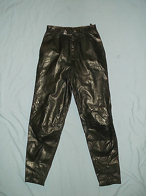 VTG 80's Women's black leather pants Sz. 8 Measured-W26/L29 Wilson's