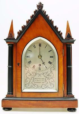 Rare Stunning Antique English Satinwood Single Fusee Cathedral Bracket Clock