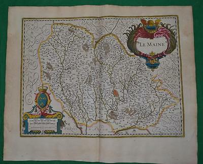 1638 Hand Coloured Map Of Le Mans France, By Mercator / Hondius