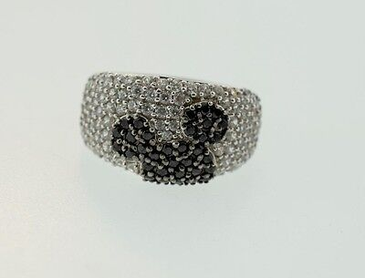 Mickey Mouse Ears Disney Sterling Silver White & Black CZ Ring Band  Size 8