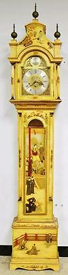 Beautiful Vintage Cream Chinoiserie 3 Train Musical Chime 8 Day Longcase Clock