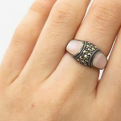 925 Sterling Silver Real Pink Mother-Of-Pearl Marcasite Gemstone Ring Size 6
