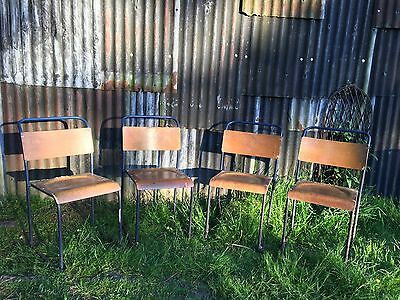 4 Vintage Stacking Chairs.  School / Lab Chairs
