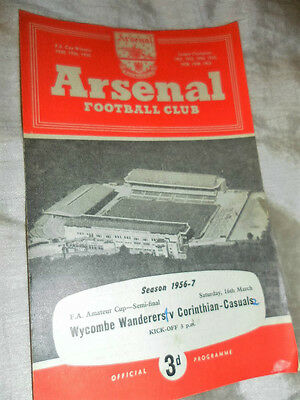 1957/8 Amateur Cup Semi Final Wycombe Wanderers V Corinthian Casuals @ Arsenal