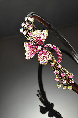 Antique Gold Flower Decor Metal PINK Color Light Pink Crystal Hair Band Headband